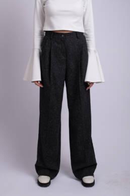 pantaloni largi gri