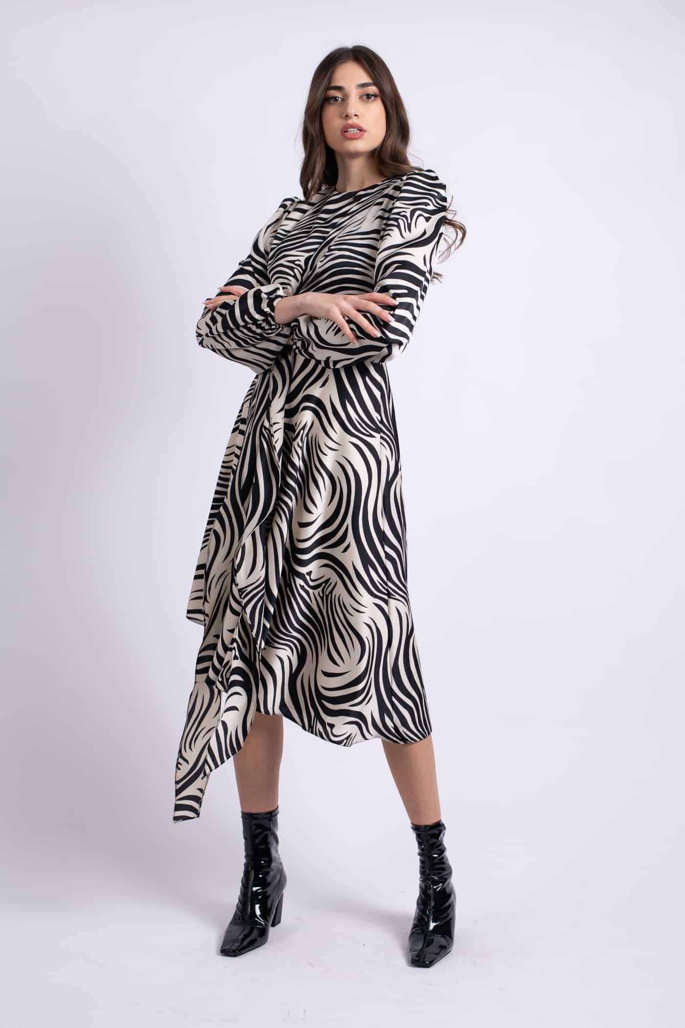 rochie midi zebra