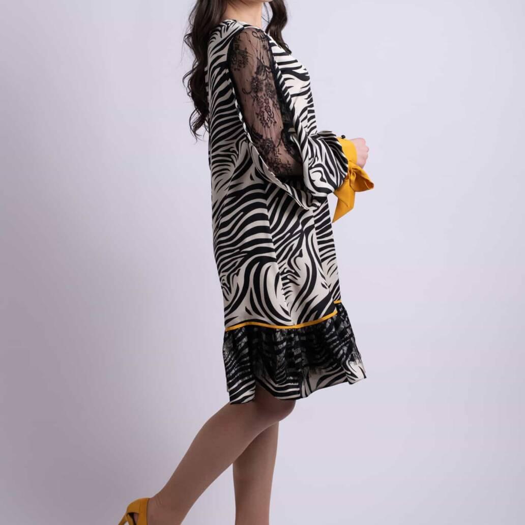 rochie zebra dantela galben