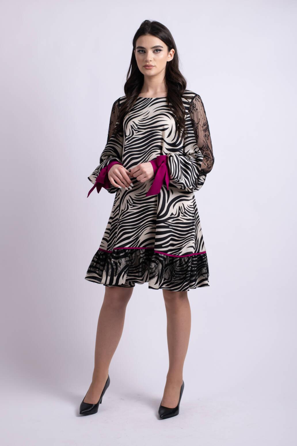 rochie zebra fuchsia uai