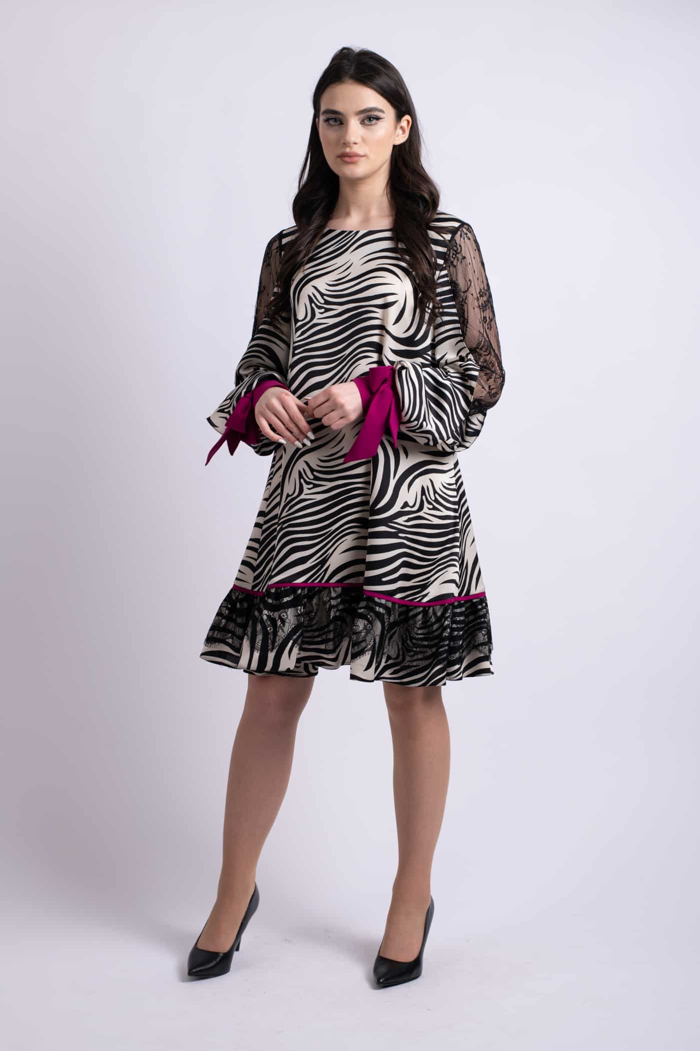 rochie zebra fuchsia