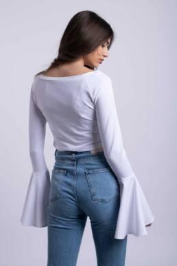 bluza alba crop top ladonna