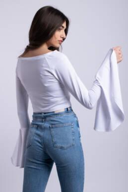 bluza alba crop top