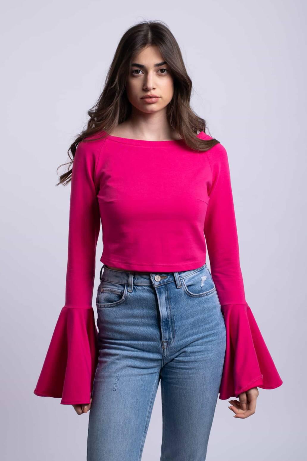bluza roz croptop uai
