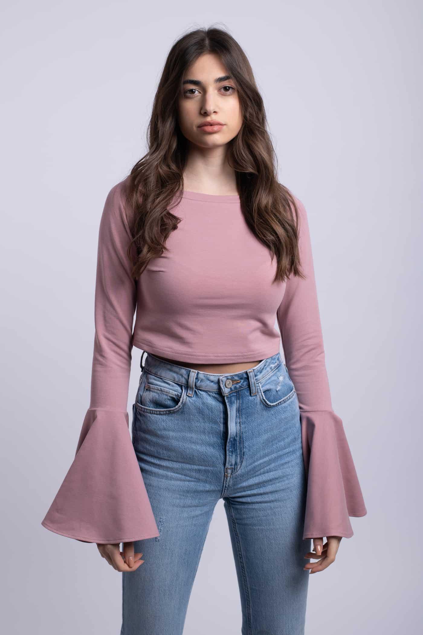bluza roz pudra crop top simpla