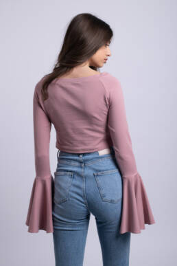 bluza simpla roz pudra