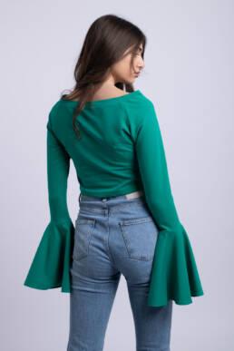bluza verde crop top simpla