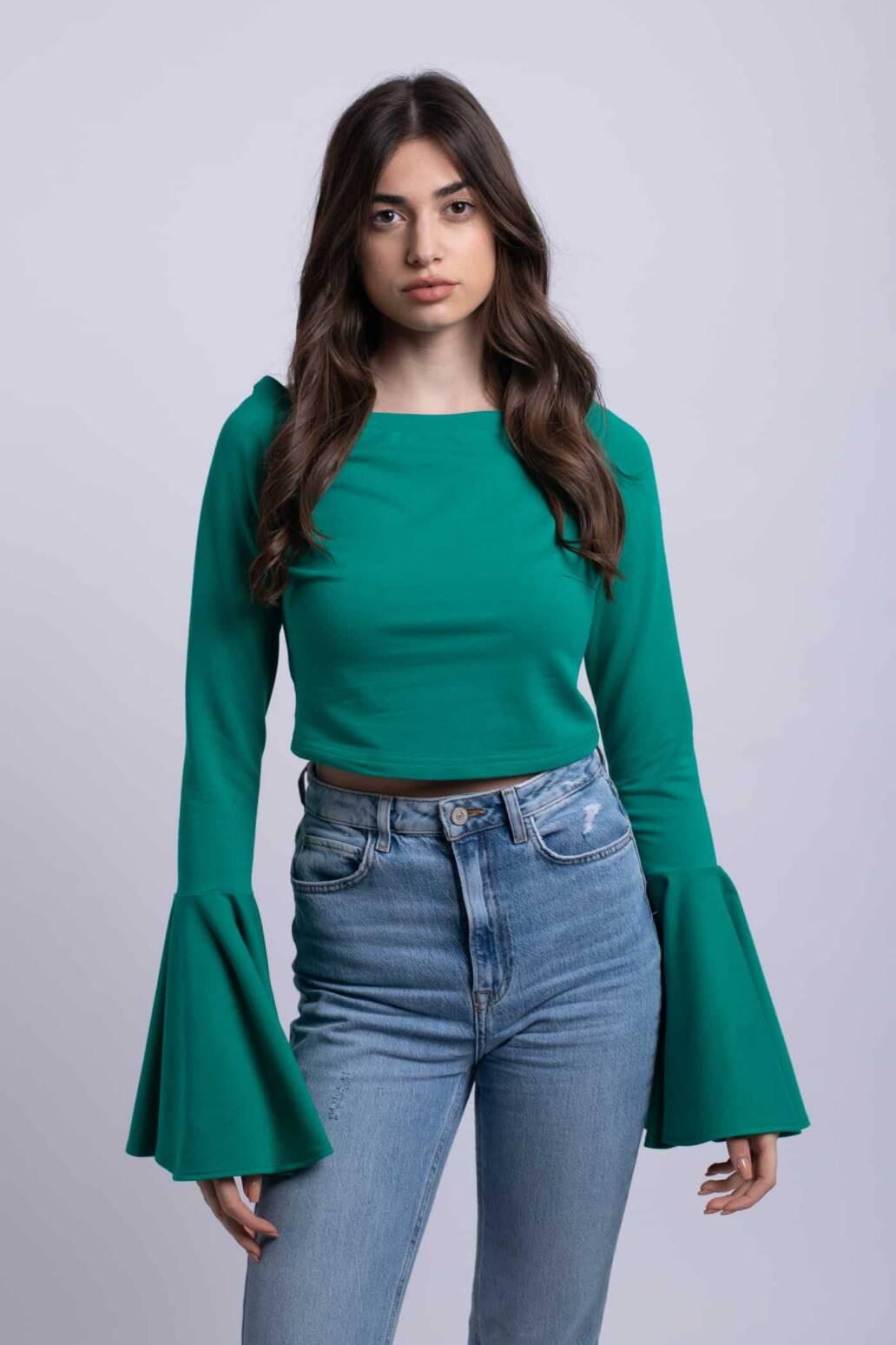 bluza verde crop top uai