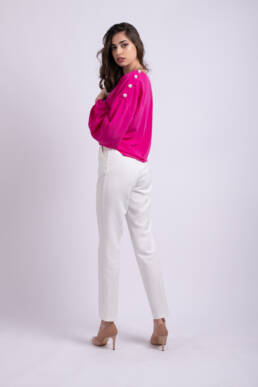 pantaloni albi office ladonna