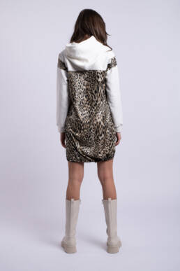 rochie alba animalprint bumbac