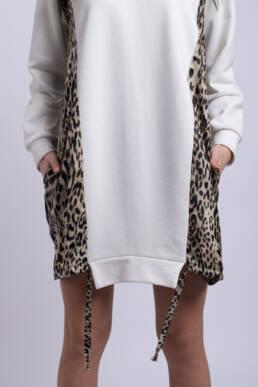 rochie alba animalprint