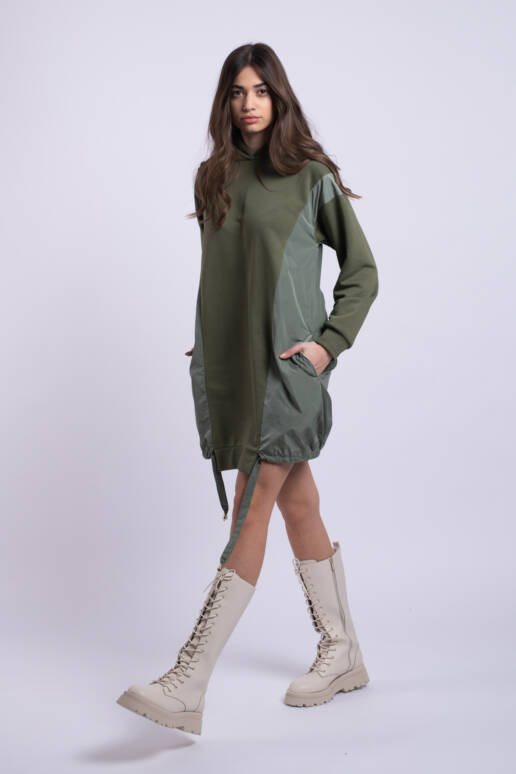 rochie verde kaki bumbac uai