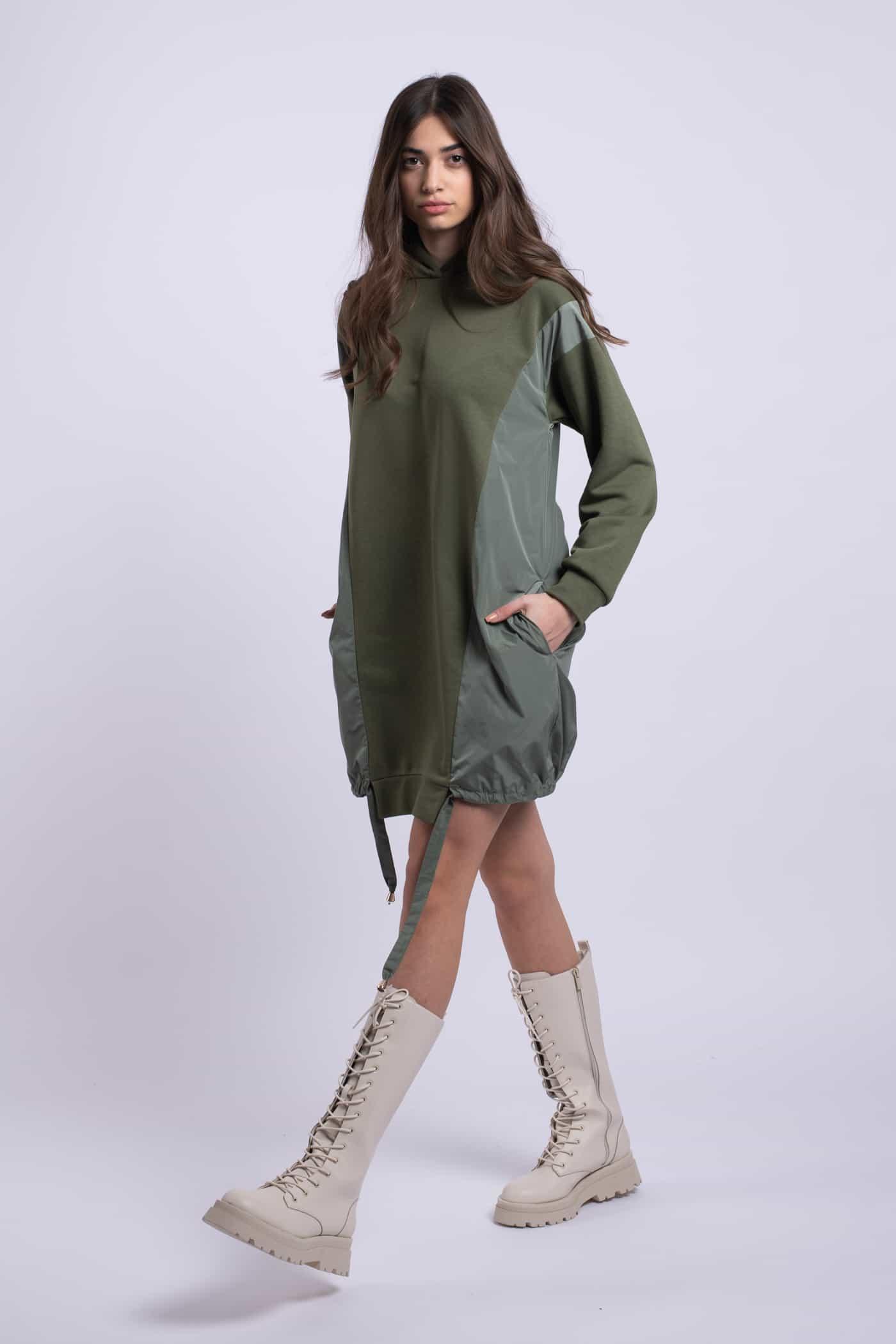 rochie verde kaki bumbac